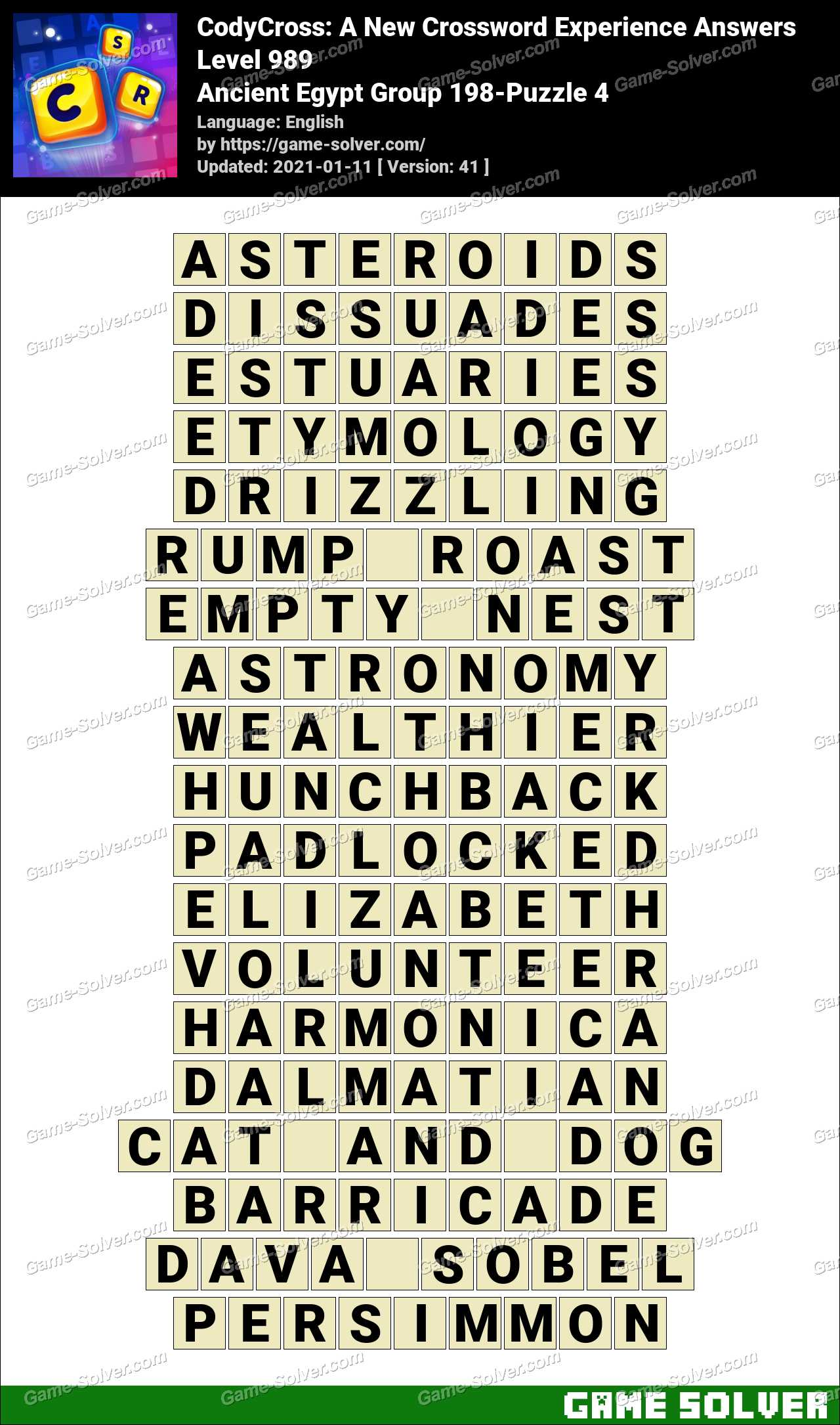 Codycross Ancient Egypt Group 198 Puzzle 4 Answers Game Solver