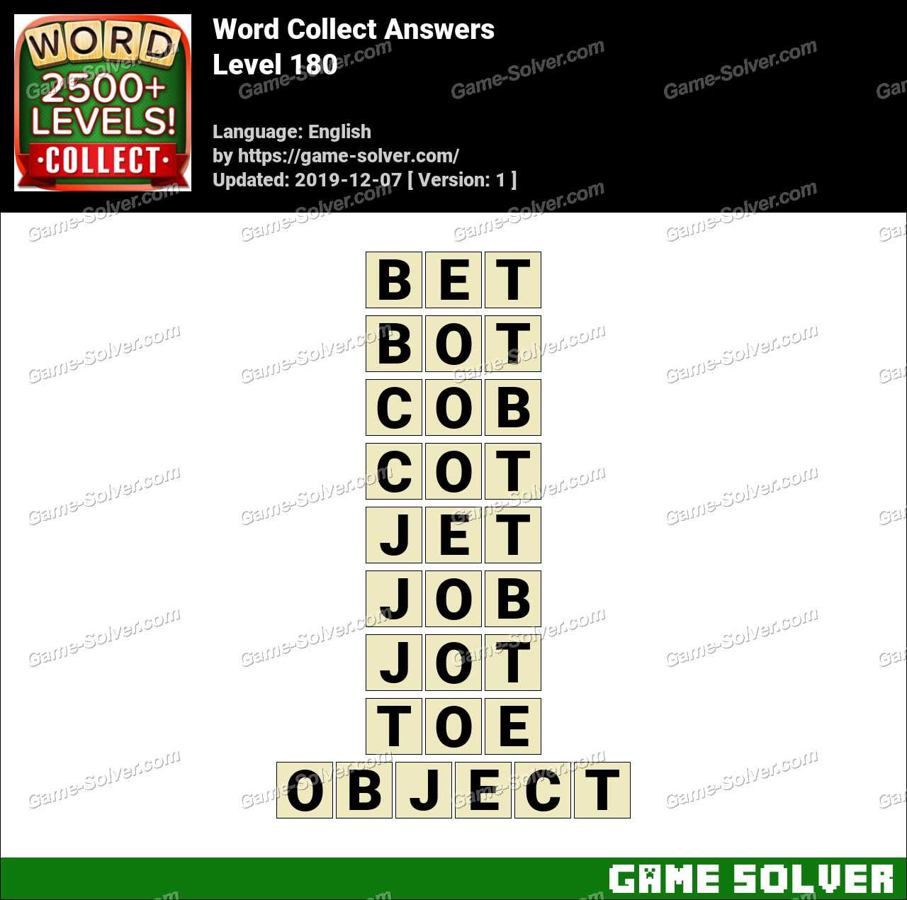 Word Collect Level 180 Answers Game Solver