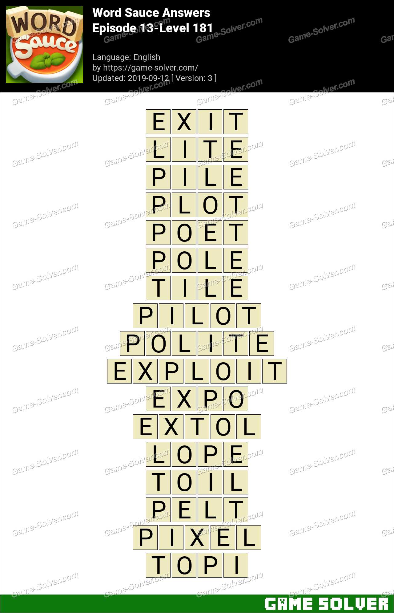 Word Sauce Episode 13 Level 181 Answers Game Solver