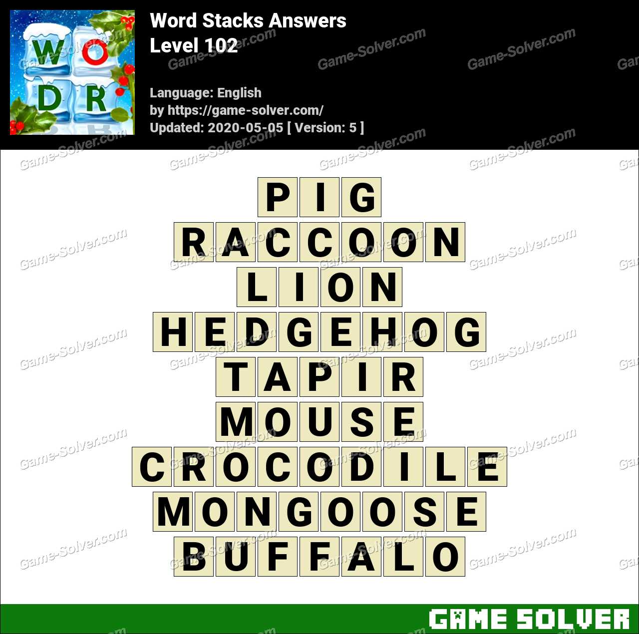 Word Stacks Level 102 Answers Game Solver