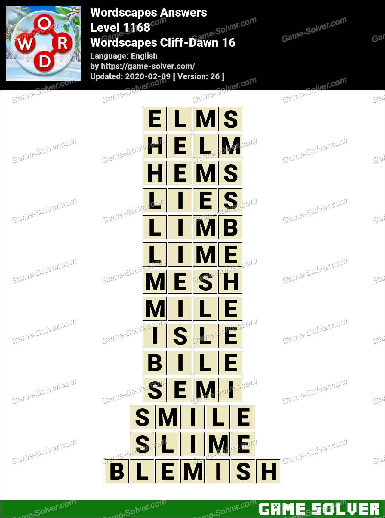 Wordscapes Cliff Dawn 16 Answers Game Solver