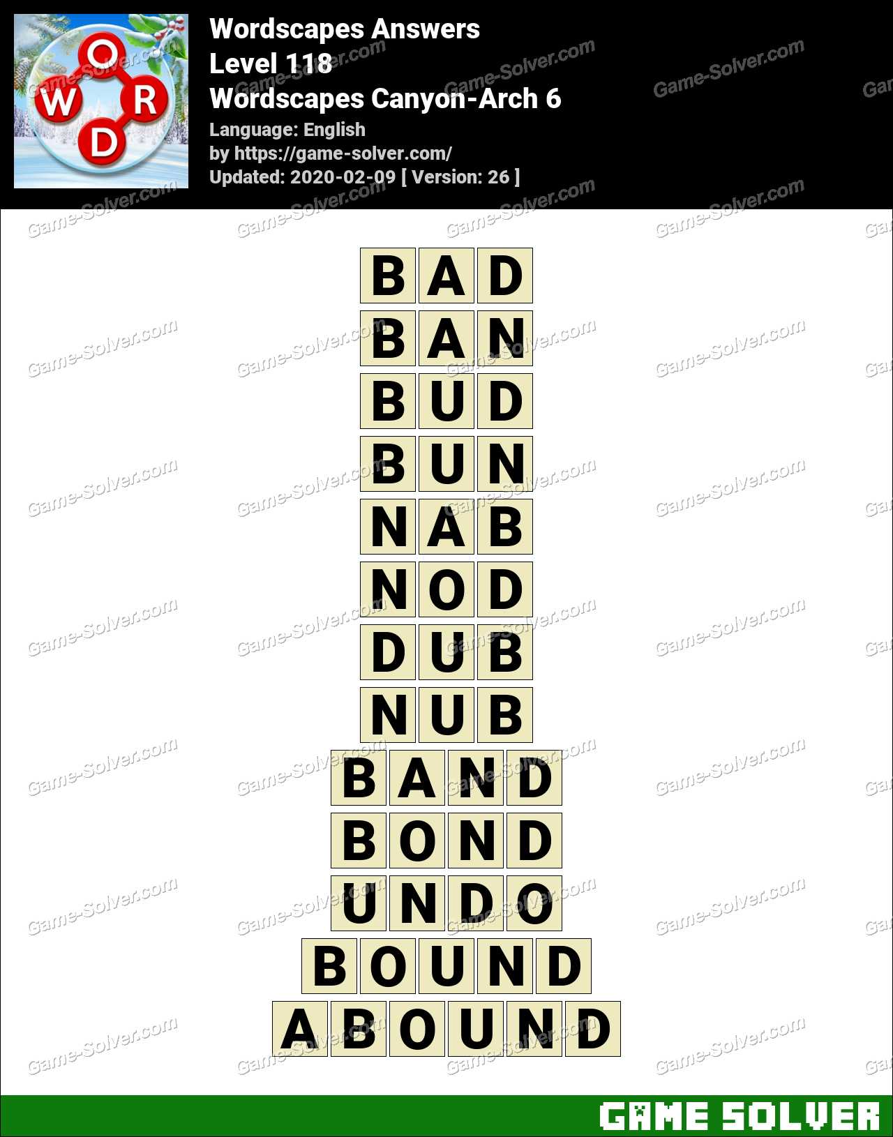 Wordscapes Canyon Arch 6 Answers Game Solver
