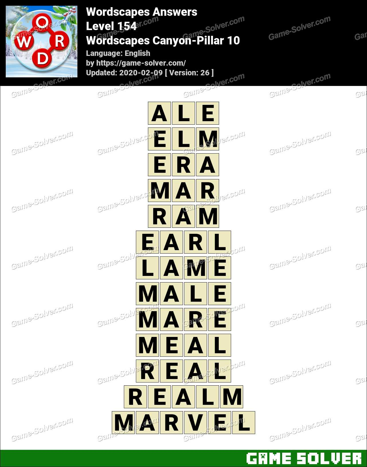 Wordscapes Canyon Pillar 10 Answers Game Solver